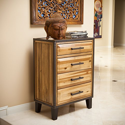 Christopher Knight Home Glendora Natural Stain Solid Wood Four Drawer Storage Dresser, Brown