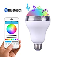 GBATERI Bluetooth Speaker LED Light Bulb Smart Led Light E26 Bulb light with speaker Multi Changing Lights Led Music Bulb Lamp Dancing LED Light Smartphone App Controlled Via Apple iPhone Android Devices for Home,Office,Small Parties