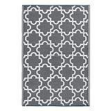 outdoor indoor rug - DII Moroccan Indoor/Outdoor Lightweight, Reversible, & Fade Resistant Area Rug, Use For Patio, Deck, Garage, Picnic, Beach, Camping, BBQ, Or Everyday Use - 4 x 6', Gray Lattice
