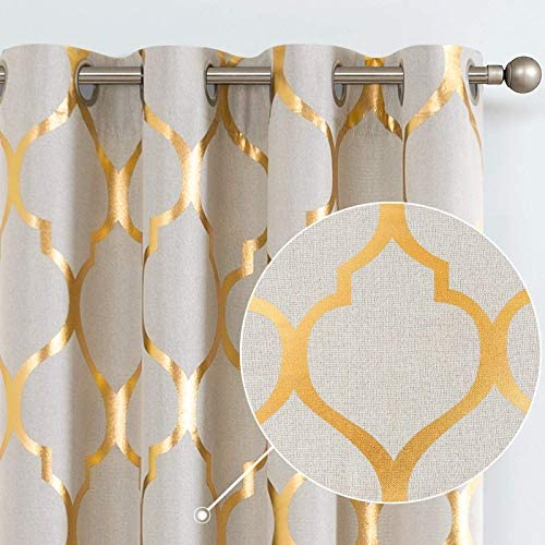 jinchan Linen Textured Curtains Moroccan Tile Foil Printed Curtain Panels Room Darkening Bedroom Living Room Thermal Insulated Window Treatment 2 Panel Drapes 84″ L Gold