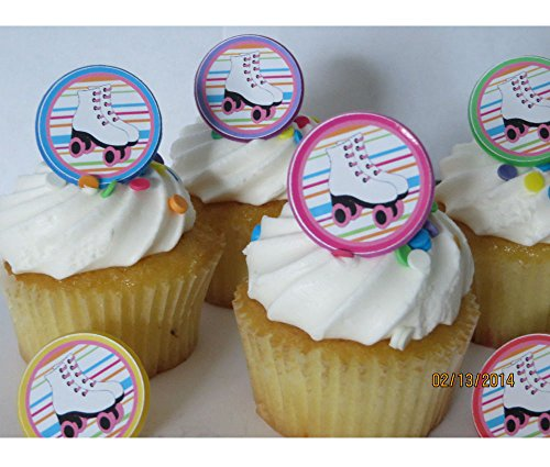 Roller Skating rings cupcake toppers - 12ct - skate party birthday favor 80's for $<!--$8.50-->