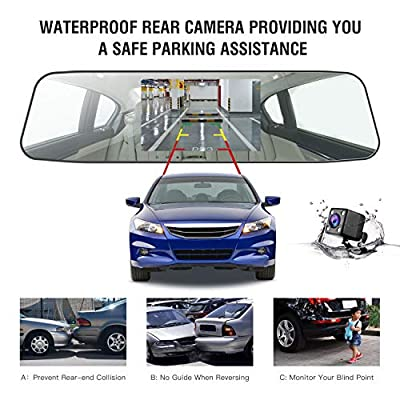"""Jeemak Backup Camera 4.3"""" Touch Screen Mirror Dash Cam 1080P Rearview Front and Rear Dual Lens Dashboard Recorder with Waterproof Reversing Camera: Electronics"""