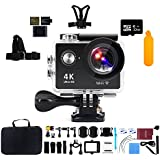 Action Camera with 32G Micro SD card, Kebo 2.0 LCD Screen 4K WiFi Ultra HD Waterproof Sport Camera with 170 Wide-Angle Lens, Full Accessories Kits and Waterproof Case - Black