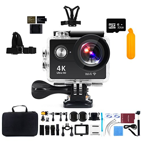 Action Camera with 32G Micro SD card, Kebo 2.0″ LCD Screen 4K WiFi Ultra HD Waterproof Sport Camera with 170 Wide-Angle Lens, Full Accessories Kits and Waterproof Case – Black