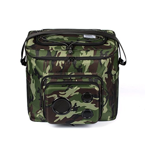 (The #1 Cooler with Speakers on Amazon. 15-Watt Bluetooth Speakers & Subwoofer for Parties/Festivals/Boat/Beach. Rechargeable, Works with iPhone & Android (Camo, 2019 Edition))