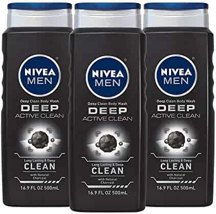 NIVEA Men DEEP Active Clean Body Wash - 8-hour Fresh Scent with Natural Charcoal - 16.9 fl. oz. Bottle (Pack of 3)