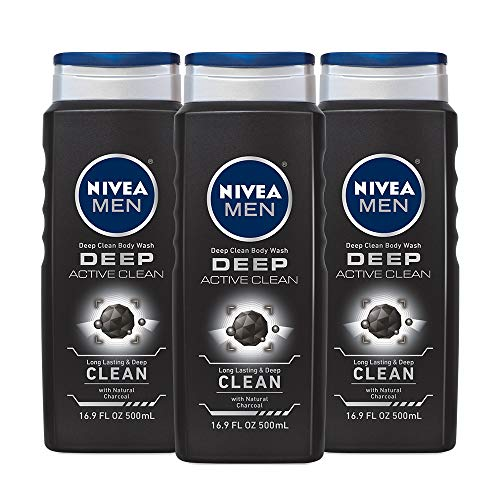 NIVEA Men DEEP Active Clean Body Wash - 8-hour Fresh Scent with Natural Charcoal - 16.9 fl. oz. Bottle (Pack of -
