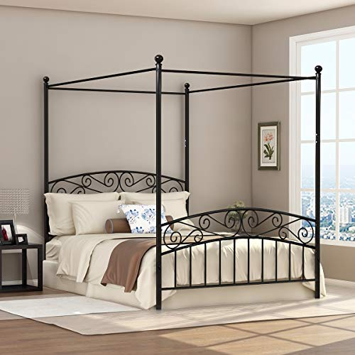 Deluxe Design Queen Size Metal Canopy Bed Frame with Ornate European Style Headboard & Footboard Sturdy Black Steel Holds 660lbs Perfectly Fits Your Mattress Easy DIY Assembly All Parts Included