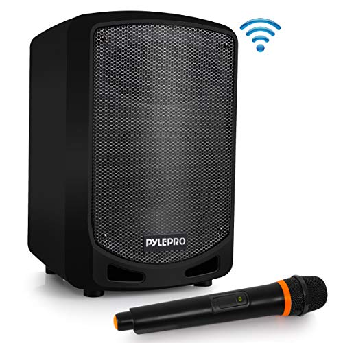 (Pyle Bluetooth Karaoke PA Speaker - Indoor / Outdoor Portable Sound System with Wireless Mic, Audio Recording, Rechargeable Battery, USB / SD Reader, Stand Mount - for Party, Crowd Control - PSBT65A)