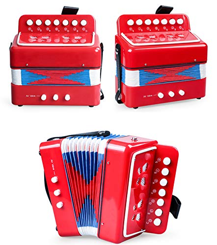 SFQNPA Red Toy Accordion Instrument Mini Small 7Key 2 Bass Accordion Educational Musical Instrument Toy for Kids Children Amateur Beginner by SFQNPA (Image #5)