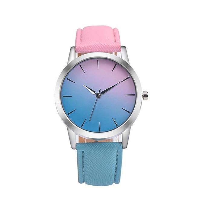 Reloj De Las Mujeres, ZARLLE Reloj Retro Arco Iris De DiseñO Banda De Cuero De AleacióN AnalóGica Cuarzo Reloj De Pulsera (Un tamaño, Azul): Amazon.es: Ropa ...