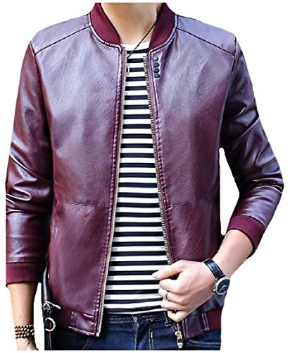 Brown Pu Fashion Zip Safari Men Jacket Leather College Howme Full Travel qwHnvOxSE