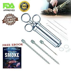 Meat Injector Marinade Kit Syringe Food BBQ Flavor