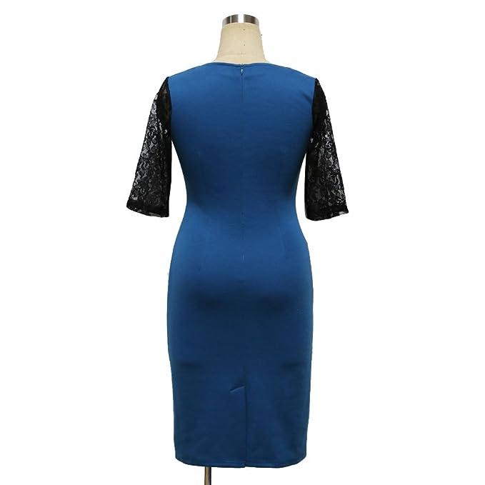 COCO clothing Vestido Quinta Manga Encaje Casual de Verano Lápiz para Mujer OL Style Azul: Amazon.es: Ropa y accesorios