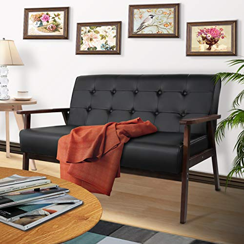 AODAILIHB Mid-Century Modern Fabric Upholstered Wooden Tufting Sofa Set,Armrest Loveseat Couch for Living Room and Office Gift 2 Pillowcase (Black 01)