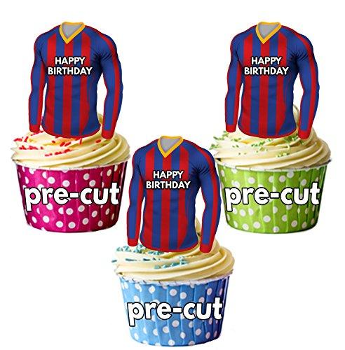 AK Giftshop – Comestibles de camisetas de fútbol para cupcakes o tartas de cumpleaños, diseño de rayas azules y rojas…