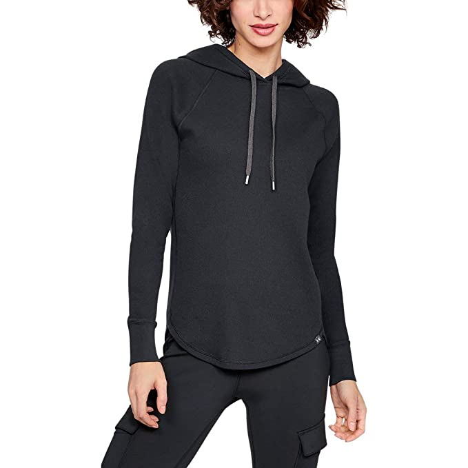 0c74909b Under Armour Women's Waffle Hoodie, Black (001)/Charcoal, Small