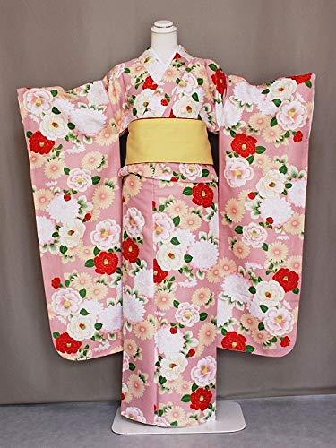 振袖 花ひめ 襦袢付き振袖 ピンク色 仕立上り 古典柄 振袖と長襦袢のセット ポリエステル D2361-02