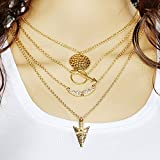Arrow Charm Crystal Choker Chunky Statement Bib Necklace Jewelry Chain Pendant