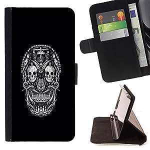 "For HTC One Mini 2 M8 MINI,S-type Blanco Negro Ink Tattoo minimalista"" - Dibujo PU billetera de cuero Funda Case Caso de la piel de la bolsa protectora"