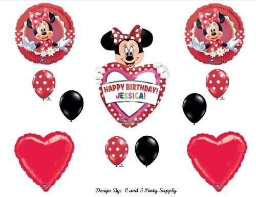Red Mad About Minnie Mouse PERSONALIZED Happy Birthday Party Balloons Decorations Supplies -