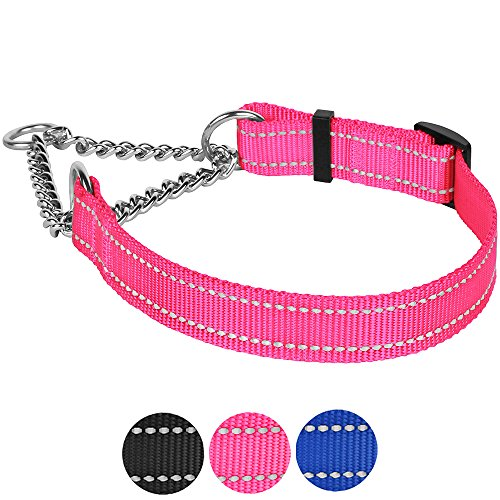 CollarDirect Martingale Dog Collar Training Adjustable Stainless Steel Chain Reflective Nylon Pet Choke Collars for Medium Large Dogs (L, Neck Fit 16