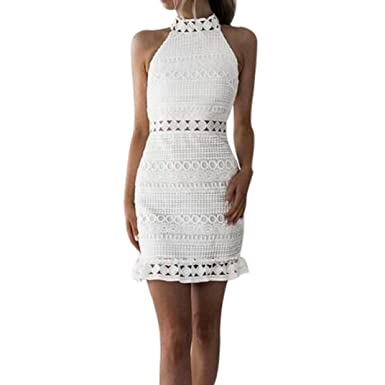 292da1b39e6 Ladies Bandage Strappy Lace Dress DIKEWANG Womens Summer Casual Bodycon  Cocktail Party Pencil Dress Clubwear  Amazon.co.uk  Clothing