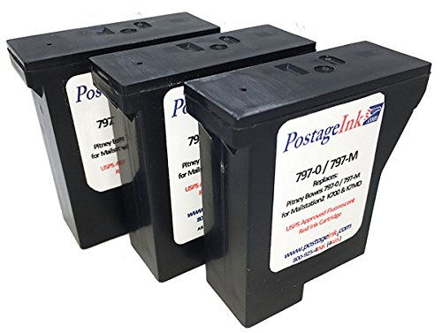 797- M (3-Pack) Pitney Bowes Red Ink Cartridge for K700, mailstation and mailstation2 Postage Meters