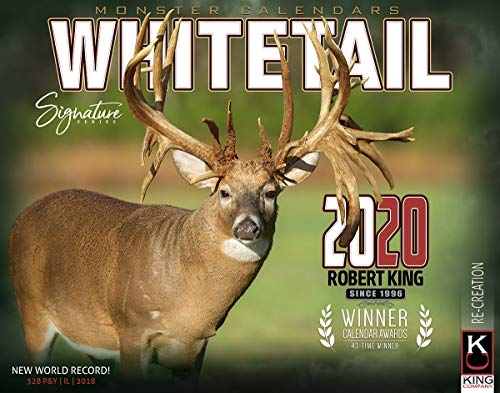 2020 Whitetail Deer of Big Bucks Wall Calendar Free 2-3 Day Shipping by The KING Company/Monster Calendars (Hunting And Fishing Best Times Calendar)
