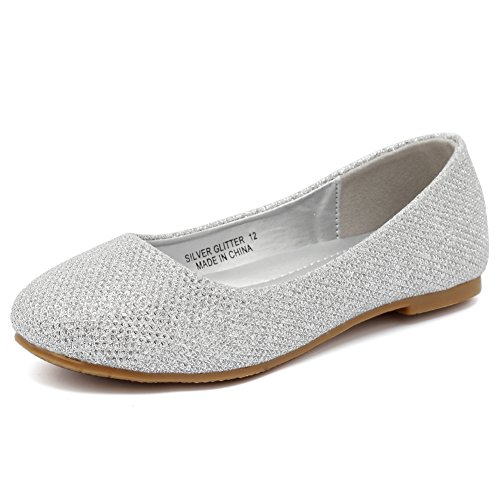 CIOR Girls Ballet Flats Big Kid Slip on Ballerina Shoes Jane Mary Wedding for Party Princess Dress,VGZA1,Silver Glitter,34 (Shoes Girls Dress Size 3 Silver)