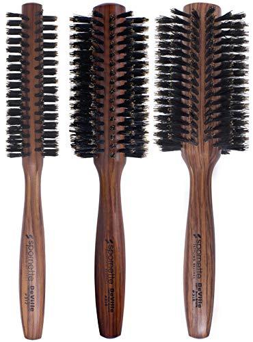 Spornette DeVille Boar Bristle Round Brush Set - Professional Round Hair Brushes Includes 1.5 inch Round Brush #312, 2 inch Round Brush #314, 2.5 inch Round Brush #316 - For Women, Men, Kids