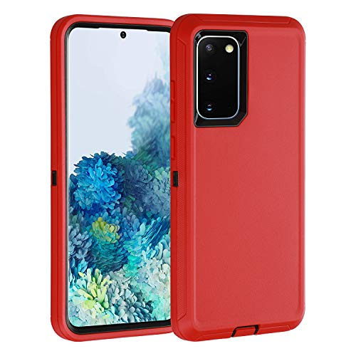 smartelf for Galaxy S20 Case,Shockproof Full Body Heavy Duty Case, Rugged Cover Drop-Proof Protective Tough Shell for Samsung Galaxy S20 5G-Red/Black