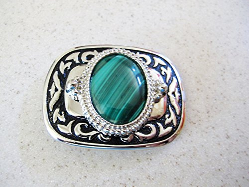 Malachite Set in a Silver Tone Bezel In a Black and Silver Tone Belt Buckle (Malachite Belt)