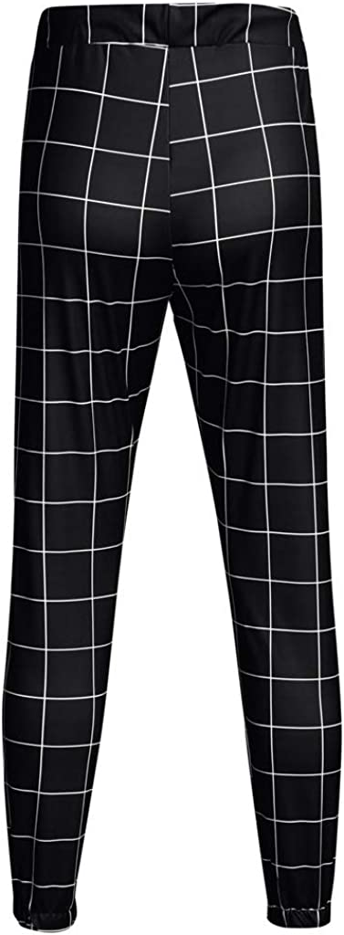 Men Casual Plaid Pants Stretch Flat-Front Skinny Dress Elastic Waist Long Pencil Pants Trousers