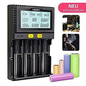 Miboxer 18650 Cargador de batería ES Universal 4 ranuras Pantalla LCD Automático Inteligente Cargador rápido simultáneamente para Li-ion / IMR / INR / ICR / Ni-MH / Ni-Cd / RCR123 Ecig Vape Starter Kit Cargador de batería