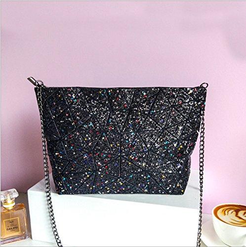 Lumineux Starry Chaîne À Ciel Femme Géométrique GUANGMING77 Sac Simple Sac Mosaïque Arc Sac Bandoulière black En 68nwq4