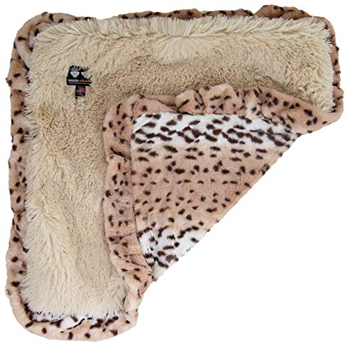 BESSIE AND BARNIE Aspen Snow Leopard Ruffle/Blondie Luxury Shag Ultra Plush Faux Fur Pet, Dog, Cat, Puppy Super Soft Reversible Blanket (Multiple Sizes)
