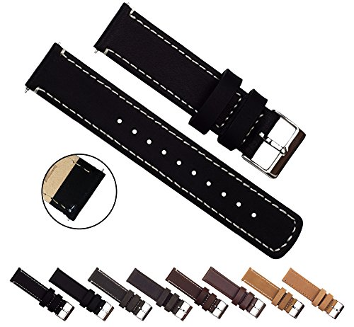 BARTON Quick Release Top Grain Leather - Choice of Colors & Widths (18mm, 20mm or 22mm) - Black/Linen 22mm Watch Band