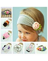 Investor Baby Cotton Stretch Pretty Rose Tulip Flower Headbands(7 Pack)