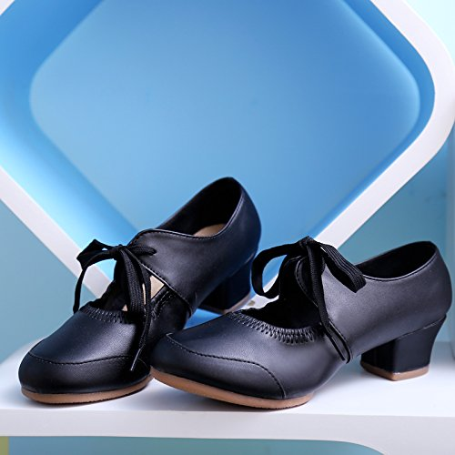 Charming Squre Abby Womens Closed Dance Modern Black Mary Fresh 215 Toe Sneakers Breathable Heel Up Lace Jane Block FwCw7xEqA