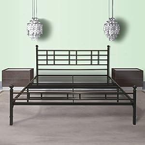 best price mattress model h easy set up steel platform bedsteel bed frame queen black - Metal Platform Bed Frame King