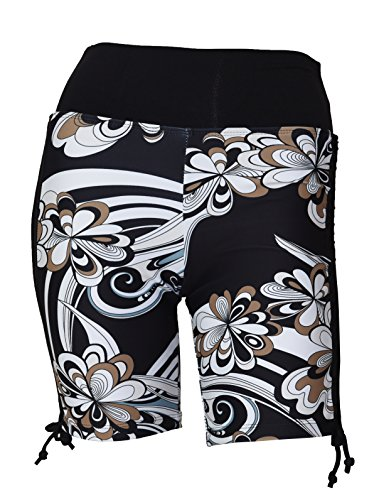 Nylon Print Tie - Private Island Hawaii Women UV Rash Guard Swimming Suit Sun Protection Shorts Hot Pants Bikini Bottom Adjustable Tie Side Boyshorts Black with Pucci Medium