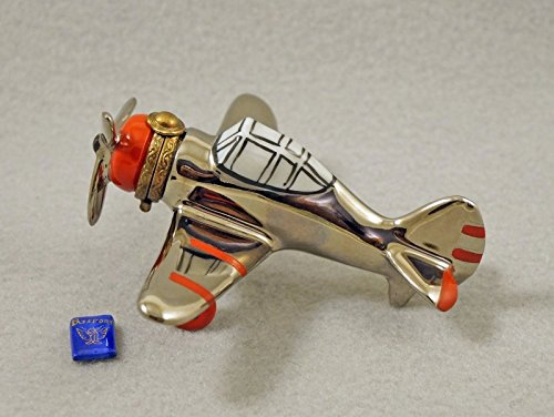 Authentic French Porcelain Hand Painted Limoges box Silver Airplane with Propeller and Removable - Daffodil International Silver