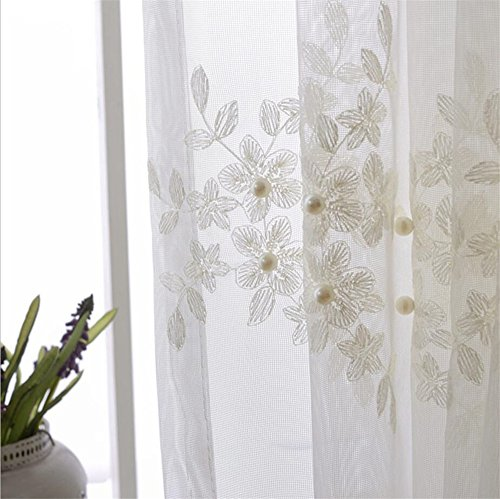 Pearl Embroidery Window Treatment Lace Sheer Curtains Panel Drapes for Living Room Girls Bedroom Rod Pocket Process 2 Panel W52 x L84 Inch For Sale