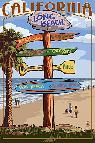 Long Beach, California - Destinations Sign (24x36 SIGNED Print Master Giclee Print w/ Certificate of Authenticity - Wall Decor Travel - California Long Beach Shore Belmont