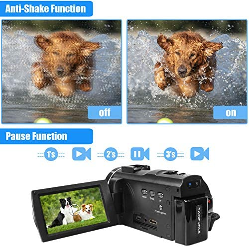 Video Camera Camcorder with Microphone, VideoSky 42MP HD 1080P 30FPS Digital Recording Camcorders for YouTube 64 GB Memory Card Vlogging IR Night Webcam Time-Lapse Slow Motion,Touch Screen, Lens Hood 51Za1 2BmpGyL