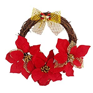 Iusun Simulation Rattan Red Flower Bow Berries Hanging Wreath Door Wall Ornament for Thanksgiving Day Christmas Party Decoration 30cm/35cm/40cm/50cm 95