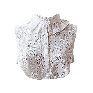 Edwardian Blouses | White & Black Lace Blouses & Sweaters Angel Sweet Womens Lace Stand Peter Pan Detachable Fake Collar Cuff Cotton Choker Tie White Vintage Detachable Half Shirts Blouse Dickey $8.99 AT vintagedancer.com