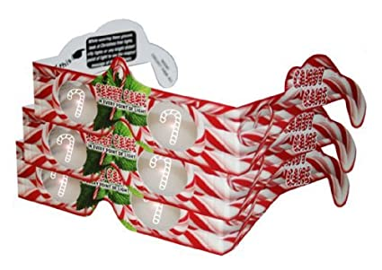 3d christmas glasses holiday specs candy canes 3 pairs transform christmas lights