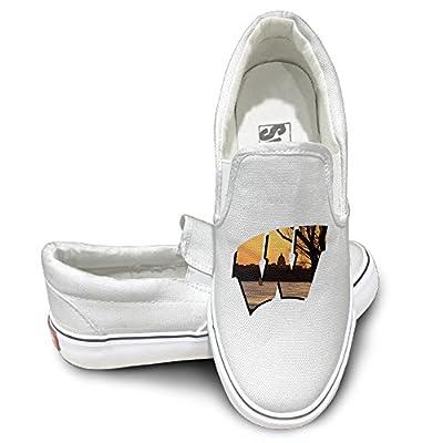 ZHEME University Of Wisconsin W Madison Athletic Unisex Flat Canvas Shoes Sneaker White